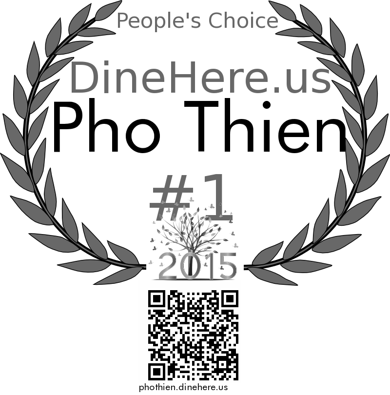 Pho Thien DineHere.us 2015 Award Winner
