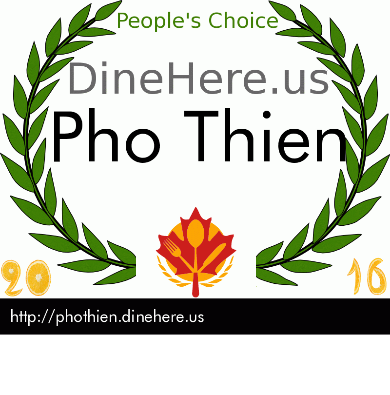 Pho Thien DineHere.us 2016 Award Winner